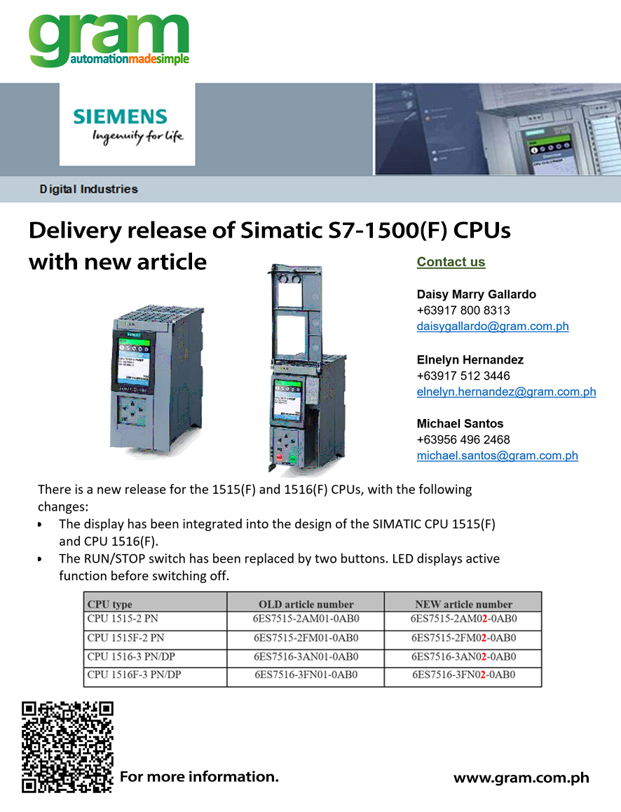 Delivery release of SIMATIC S7-1500(F) CPUs with new article number