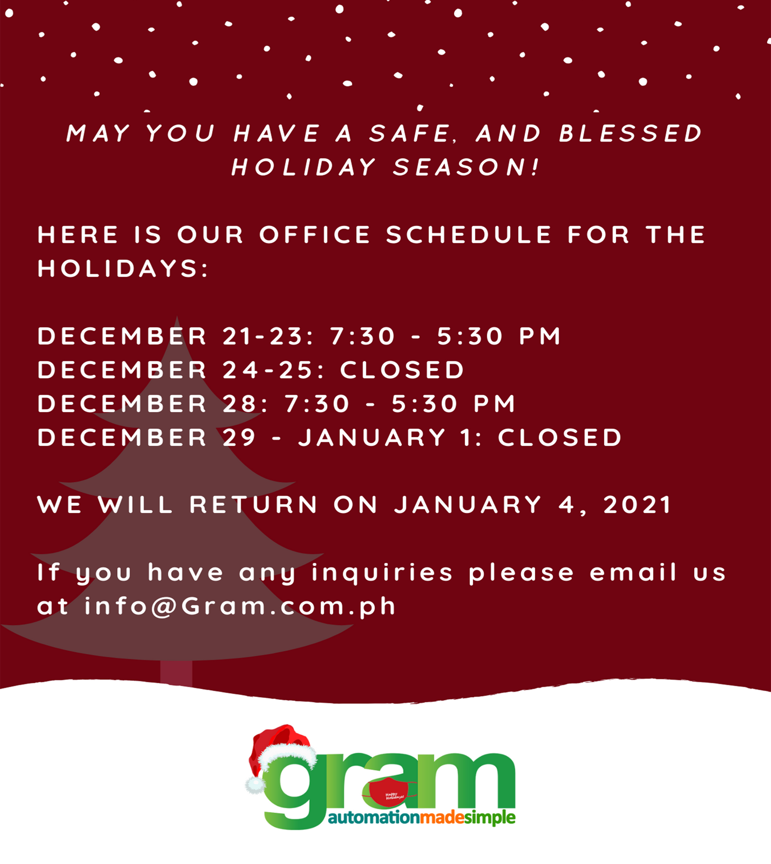 Office Schedule for the Holidays